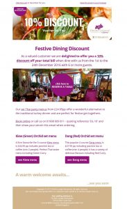 email marketing Milton Keynes Restaurant